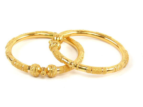 53.60g 22Kt Gold Pipe Bangle Set (Sz: 5) - 1407