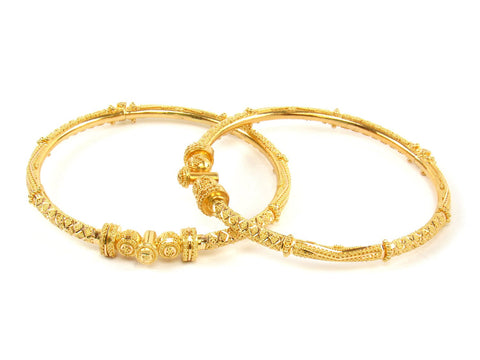29.70g 22Kt Gold Pipe Bangle Set (Sz: 5) India Jewellery