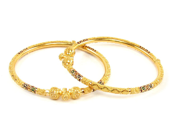 29.00g 22Kt Gold Pipe Bangle Set (Sz: 5) - 1416