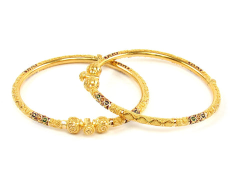 29.00g 22Kt Gold Pipe Bangle Set (Sz: 5) India Jewellery