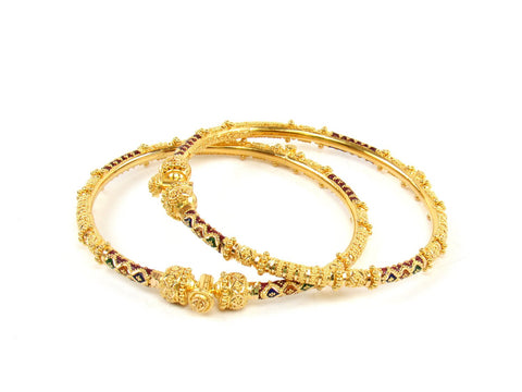 28.00g 22Kt Gold Pipe Bangle Set (Sz: 5) India Jewellery