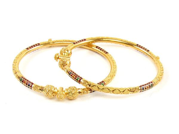 29.00g 22Kt Gold Pipe Bangle Set (Sz: 5) - 1418