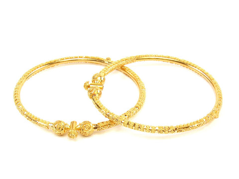 27.70g 22Kt Gold Pipe Bangle Set (Sz: 5) India Jewellery