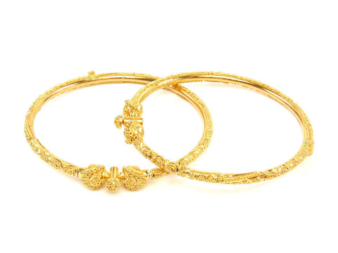 28.10g 22Kt Gold Pipe Bangle Set (Sz: 5) India Jewellery