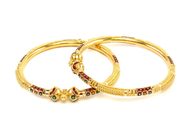 37.00g 22Kt Gold Pipe Bangle Set (Sz: 5) - 1433
