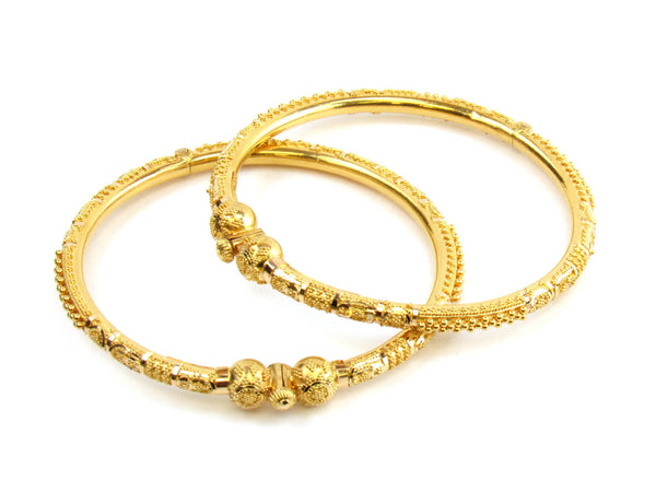 29.60g 22kt Gold Pipe Bangle Set - 151