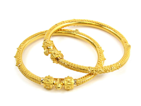 40.90g 22kt Gold Pipe Bangle Set India Jewellery