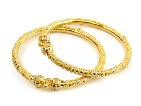 34.20g 22kt Gold Pipe Bangle Set India Jewellery