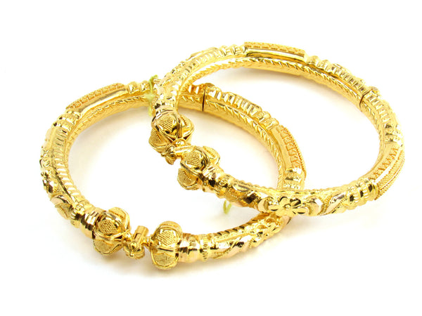 36.95g 22kt Gold Pipe Bangle Set - 154