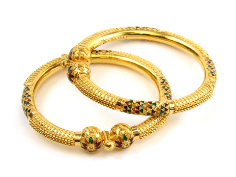 48.20g 22kt Gold Pipe Bangle Set India Jewellery
