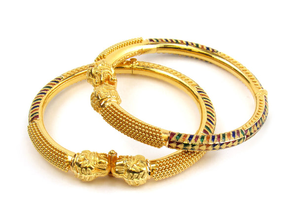 48.00g 22kt Gold Pipe Bangle Set - 157