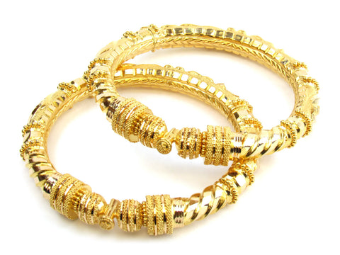 51.55g 22kt Gold Pipe Bangle Set India Jewellery