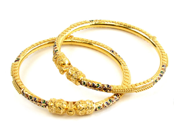 37.25g 22kt Gold Pipe Bangle Set - 160