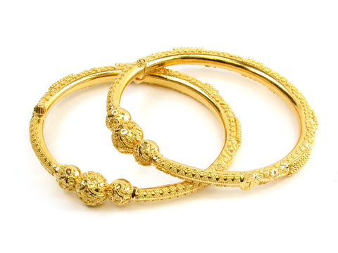 31.45g 22kt Gold Pipe Bangle Set India Jewellery