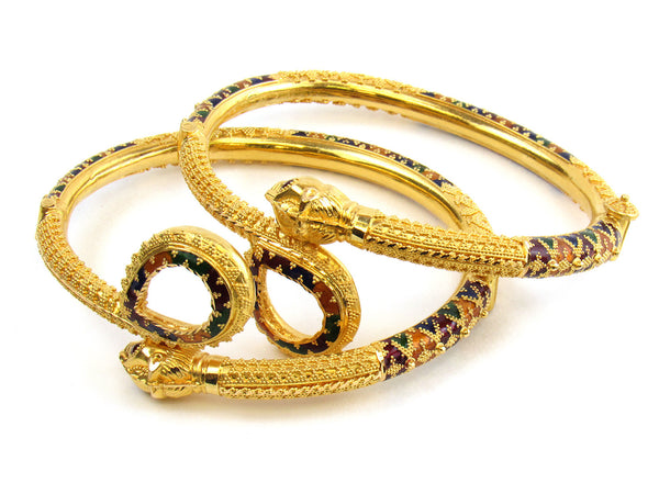 32.45g 22kt Gold Pipe Bangle Set - 163