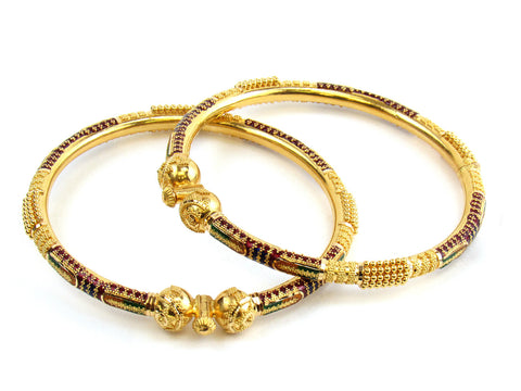 49.05g 22kt Gold Pipe Bangle Set India Jewellery