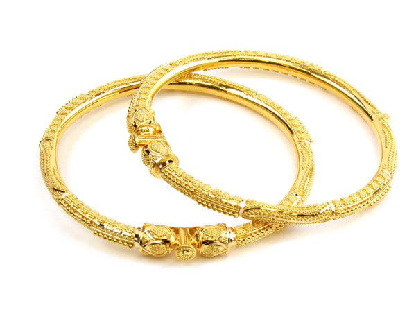 45.00g 22kt Gold Pipe Bangle Set - 166