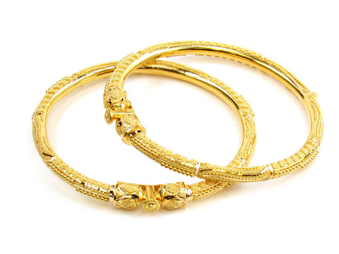 45.00g 22kt Gold Pipe Bangle Set India Jewellery
