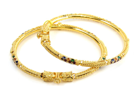 26.80g 22kt Gold Pipe Bangle Set India Jewellery