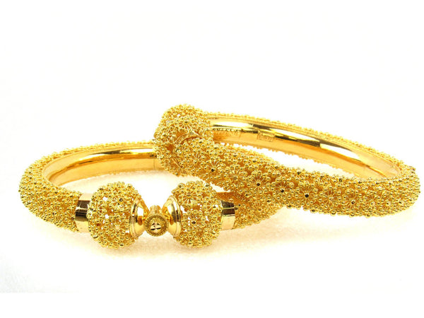 86.60g 22Kt Gold Pipe Bangle Set (Sz: 5) - 1704
