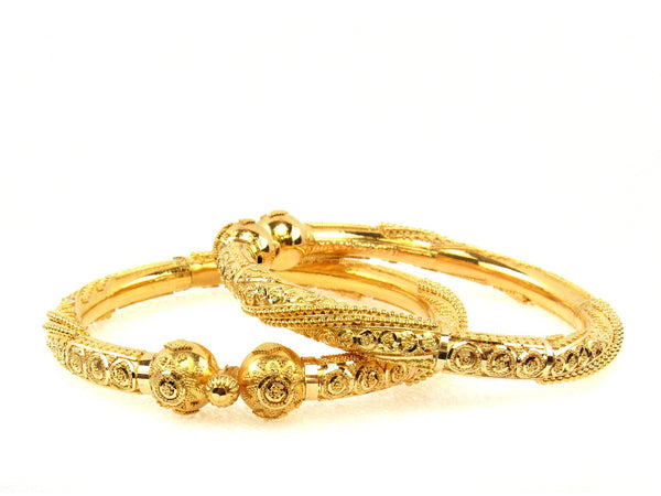 53.10g 22Kt Gold Pipe Bangle Set (Sz: 5) - 1705