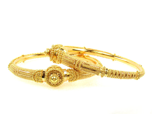 44.00g 22Kt Gold Pipe Bangle Set (Sz: 5) - 1710