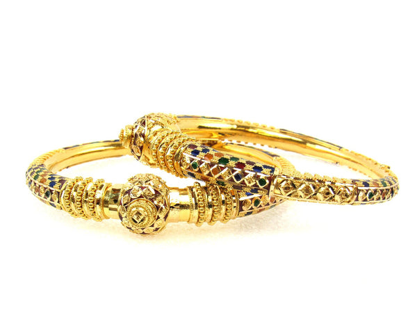 48.30g 22Kt Gold Pipe Bangle Set (Sz: 5) - 1712