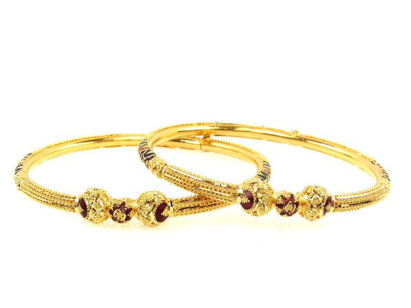 30.40g 22Kt Gold Pipe Bangle Set (Sz: 5) - 1714