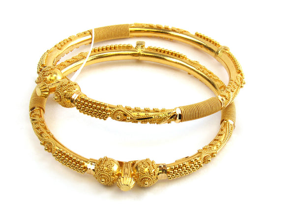 25.45g 22kt Gold Pipe Bangle Set - 172