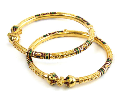 27.10g 22kt Gold Pipe Bangle Set India Jewellery