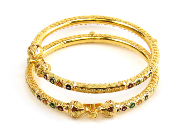 33.10g 22kt Gold Pipe Bangle Set - 178