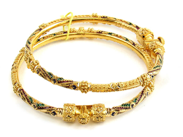 32.30g 22kt Gold Pipe Bangle Set - 180