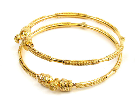 28.80g 22kt Gold Pipe Bangle Set India Jewellery