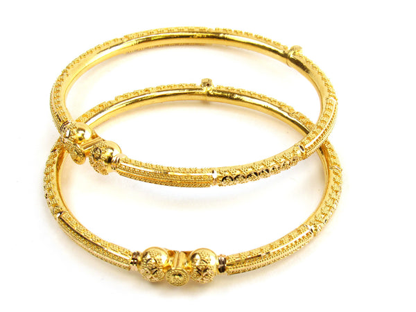 25.65g 22kt Gold Pipe Bangle Set - 183