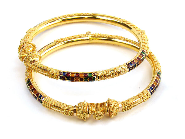 37.50g 22kt Gold Pipe Bangle Set - 185
