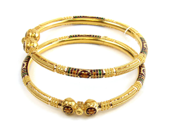 35.75g 22kt Gold Pipe Bangle Set - 187