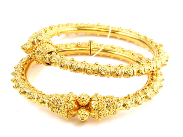 56.15g 22kt Gold Pipe Bangle Set - 190