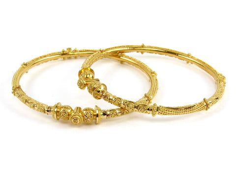 28.60g 22Kt Gold Pipe Bangle Set (Sz: 5)