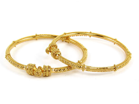 28.00g 22Kt Gold Pipe Bangle Set (Sz: 5)