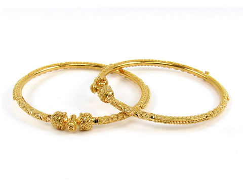 28.50g 22Kt Gold Pipe Bangle Set (Sz: 5)