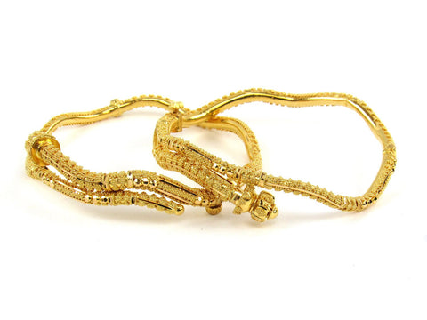 32.40g 22Kt Gold Pipe Bangle Set (Sz: 5)