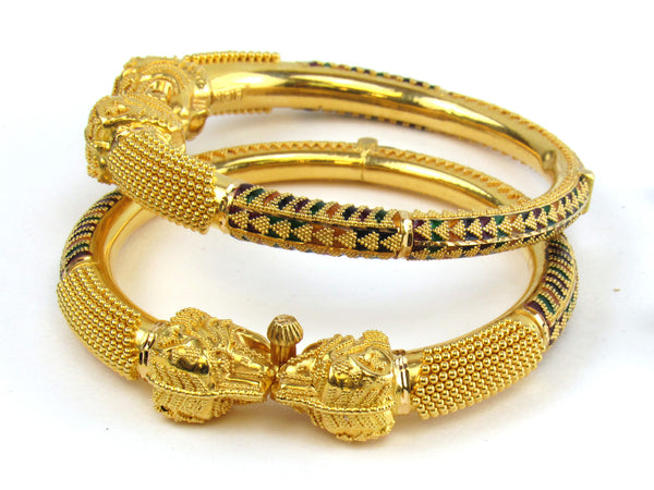 63.60g 22kt Gold Pipe Bangle Set - 191