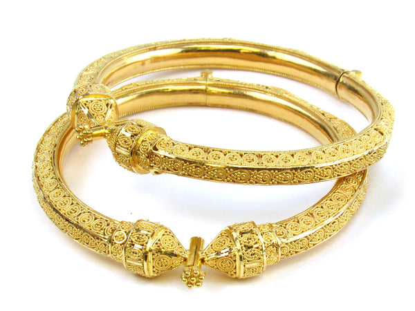50.55g 22kt Gold Pipe Bangle Set - 196