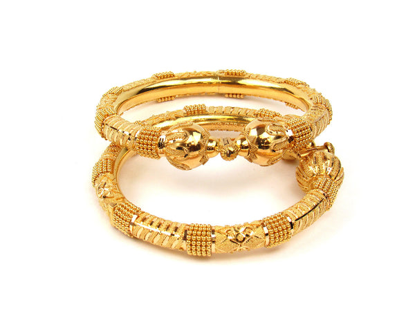 78.80g 22Kt Gold Pipe Bangle Set - 202