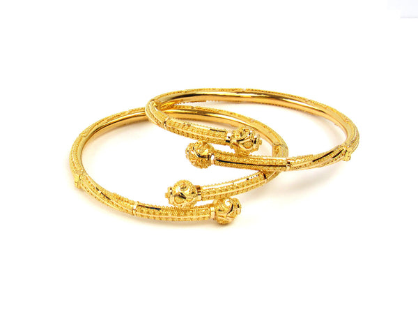 30.80g 22Kt Gold Pipe Bangle Set - 214