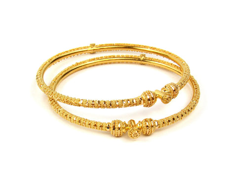 20.90g 22Kt Gold Pipe Bangle Set India Jewellery