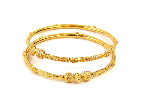 23.70g 22Kt Gold Pipe Bangle Set India Jewellery