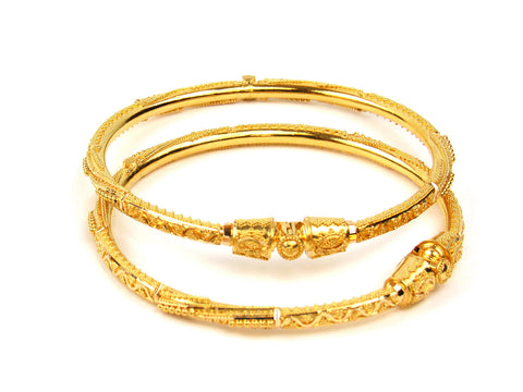 25.05g 22Kt Gold Pipe Bangle Set India Jewellery