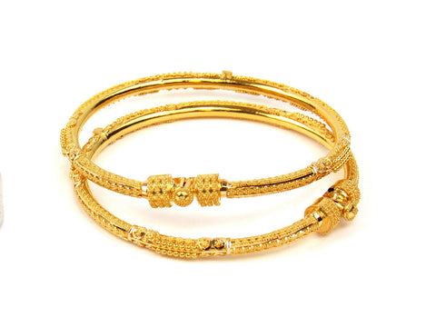 24.10g 22Kt Gold Pipe Bangle Set India Jewellery