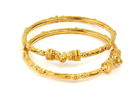 28.00g 22Kt Gold Pipe Bangle Set India Jewellery